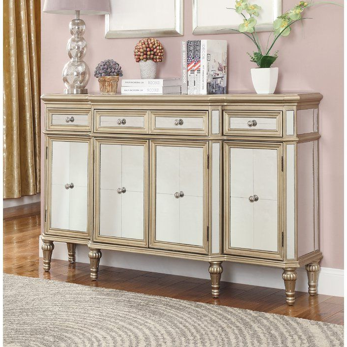"""Emmie 84"""" Wide Sideboards Throughout Favorite Poston 60"""" Wide 4 Drawer Buffet Table (with Images (View 5 of 20)"""