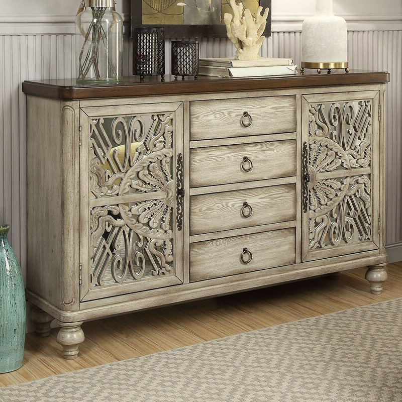 """Eskew 60"""" Wide Sideboards Throughout Preferred Bungalow Rose Yakima 60"""" Wide 4 Drawer Rubberwood (View 2 of 20)"""