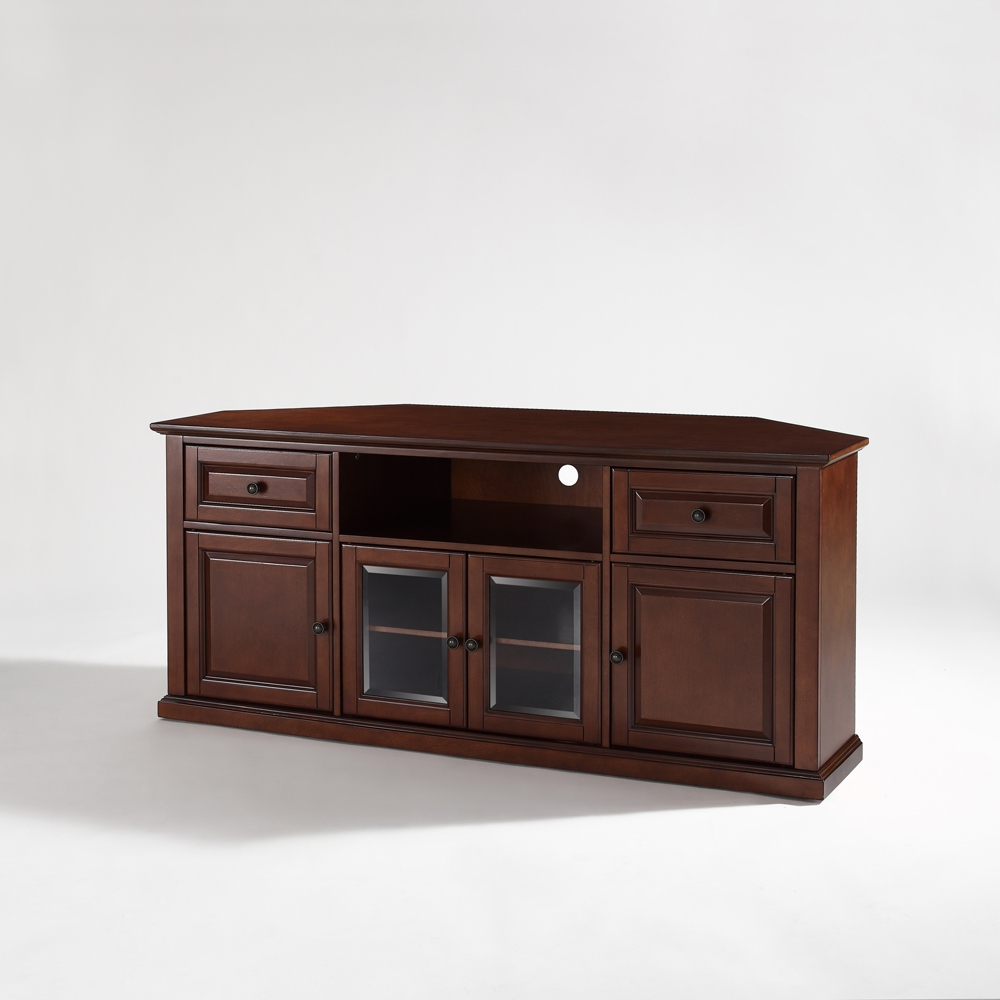 """Evanston Tv Stands For Tvs Up To 60"""" Regarding Well Liked Crosley Furniture – 60"""" Corner Tv Stand In Vintage (View 12 of 20)"""