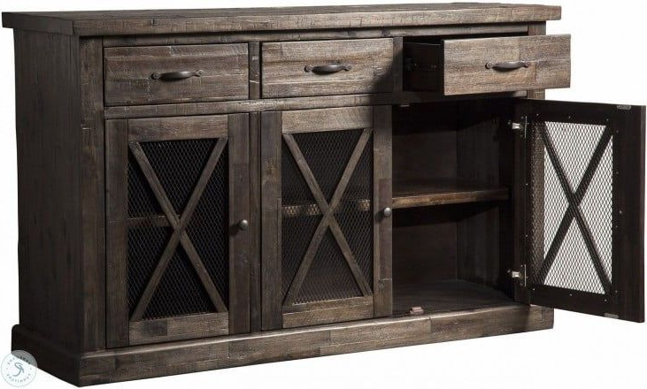 """Fahey 58"""" Wide 3 Drawer Acacia Wood Sideboards Inside Well Liked Newberry Grey Sideboard (View 5 of 20)"""