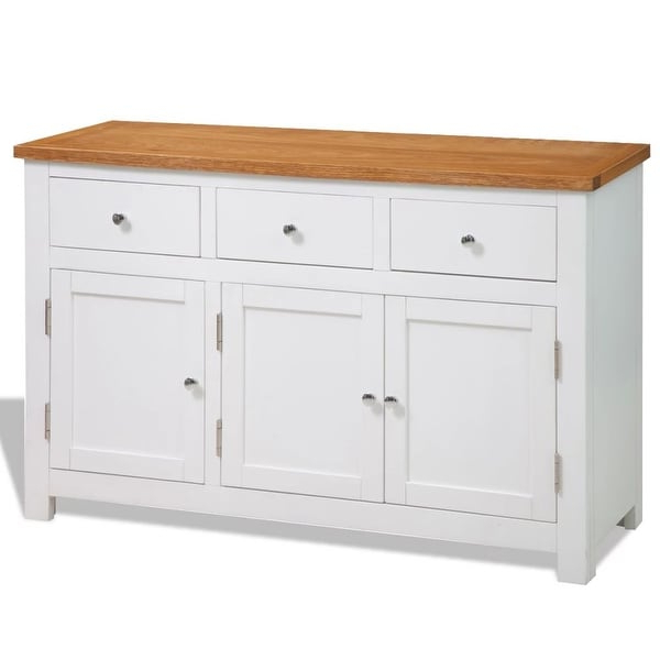 """Fahey 58"""" Wide 3 Drawer Acacia Wood Sideboards With Most Current Shop Vidaxl Sideboard Oak Storage Console Cabinet Hall (View 7 of 20)"""