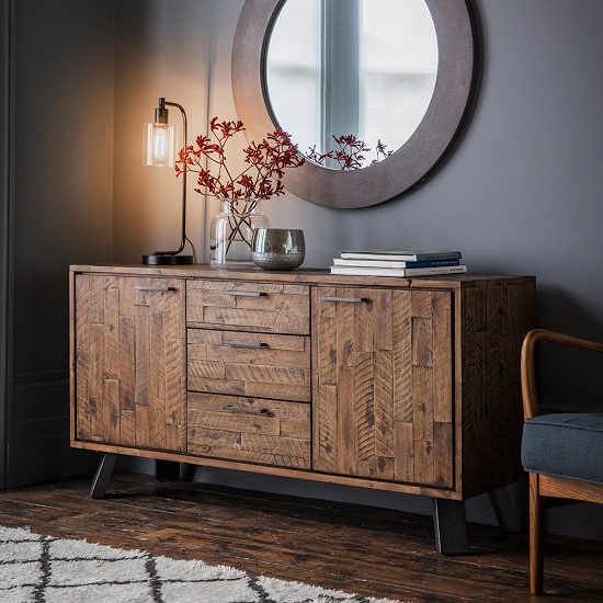 """Famous Claire 70"""" Wide Acacia Wood Sideboards Throughout Dorsey Rustic Wooden Sideboard In Acacia Wood With 2 Doors (View 8 of 20)"""