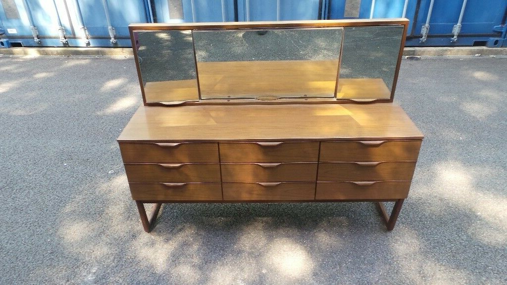"""Famous Retro Vintage Sideboard Chest With Mirror Possible Inside Thame 70"""" Wide 4 Drawers Pine Wood Sideboards (View 7 of 20)"""