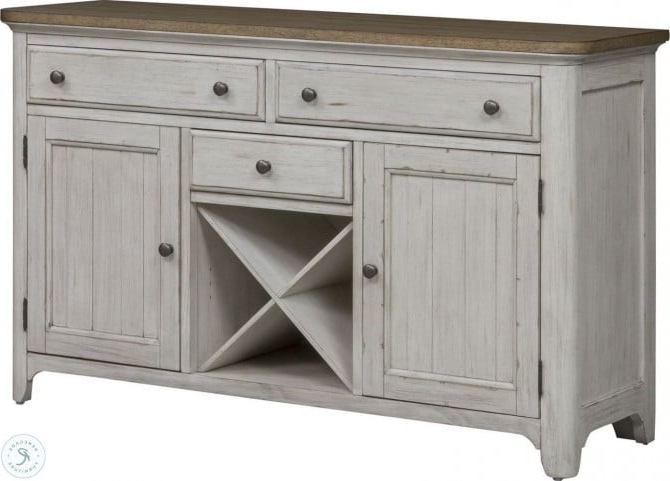 """Farmhouse Reimagined Antique White Buffet From Liberty In Newest Yukon 58"""" Wide 2 Drawer Pine Wood Sideboards (View 10 of 20)"""