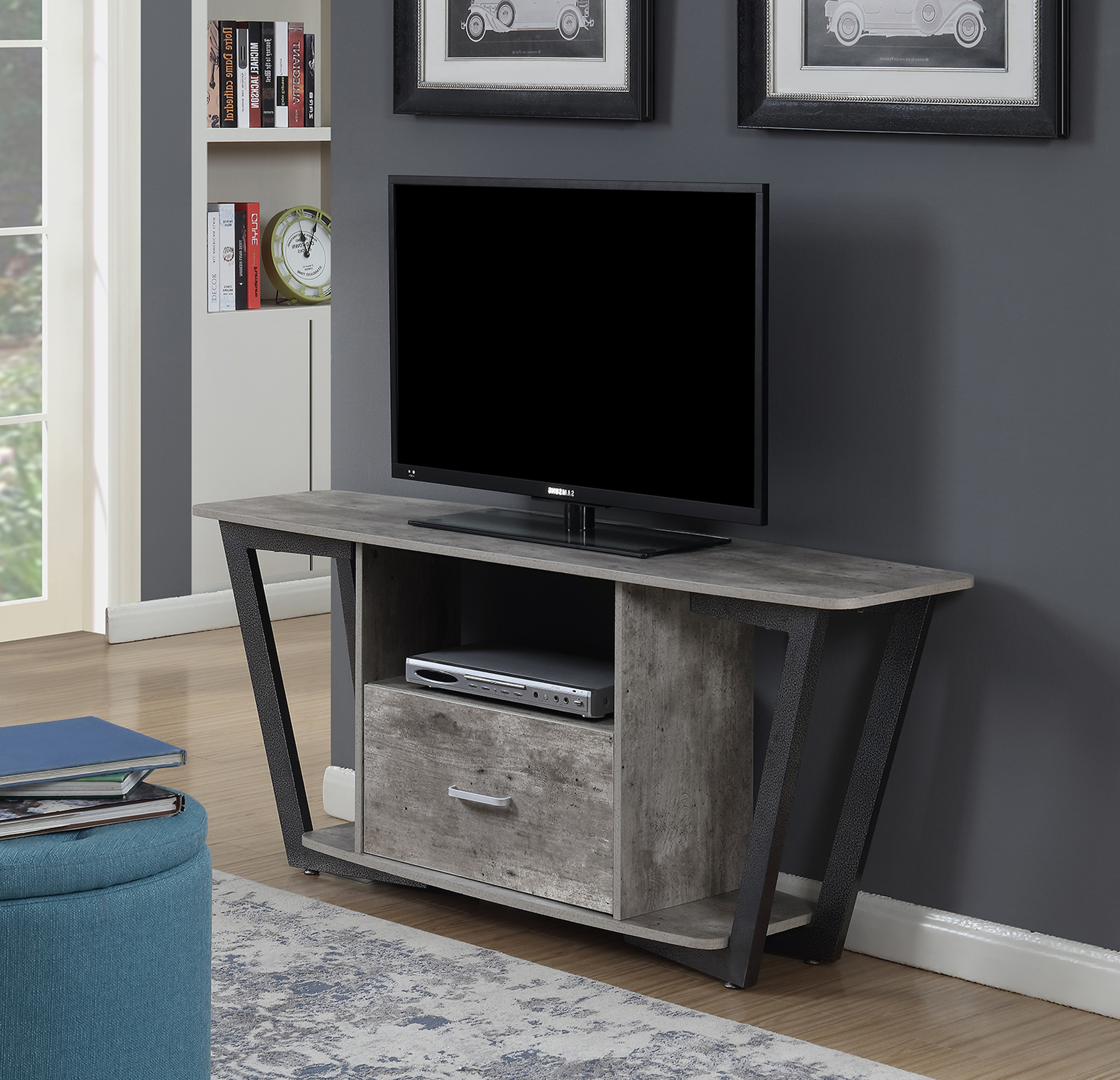"""Fashionable Convenience Concepts Graystone 60""""tv Stand, Multiple Pertaining To Whittier Tv Stands For Tvs Up To 60"""" (View 10 of 20)"""