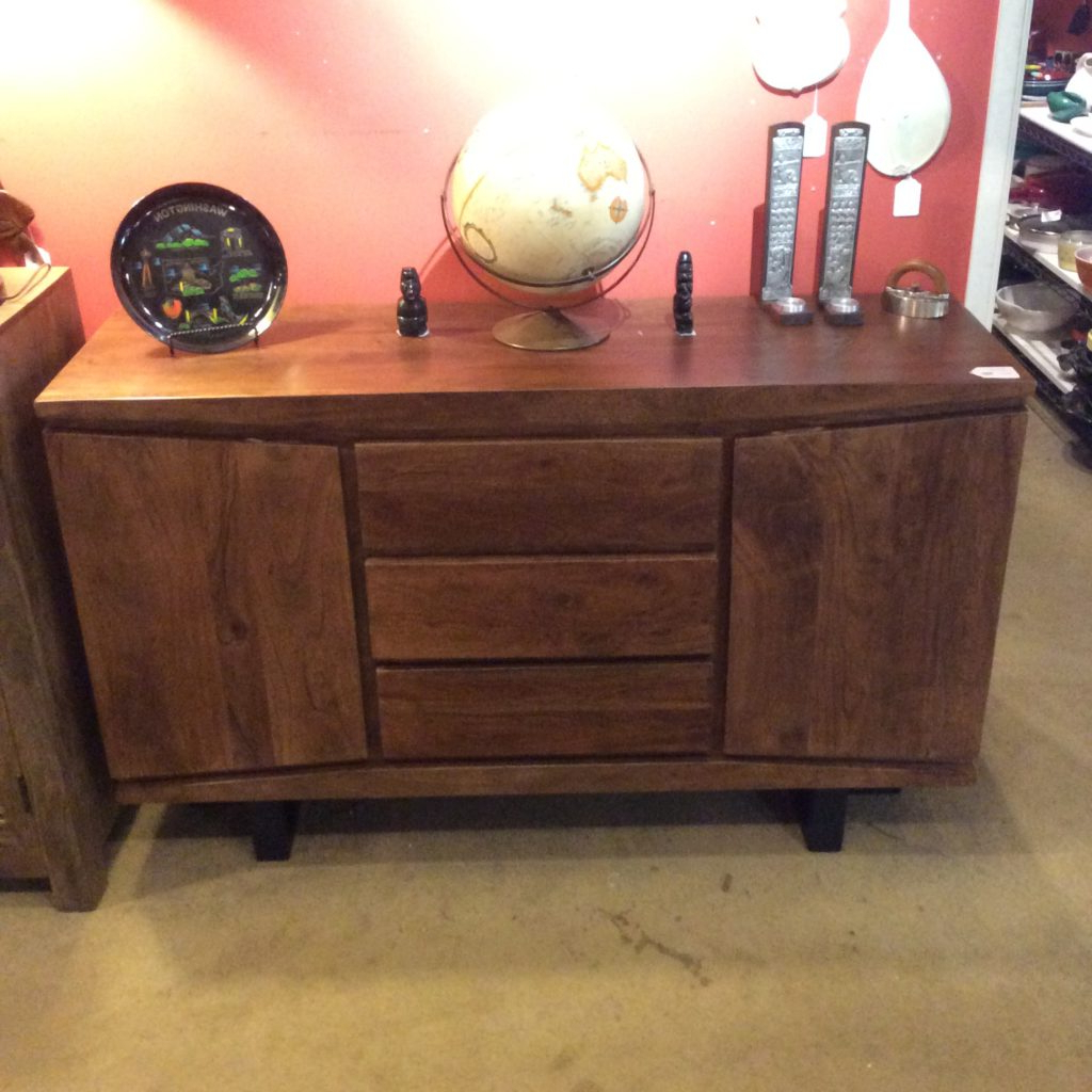"""Fashionable Fahey 58"""" Wide 3 Drawer Acacia Wood Sideboards Intended For Acacia Sideboard Sold – Ballard Consignment (View 19 of 20)"""