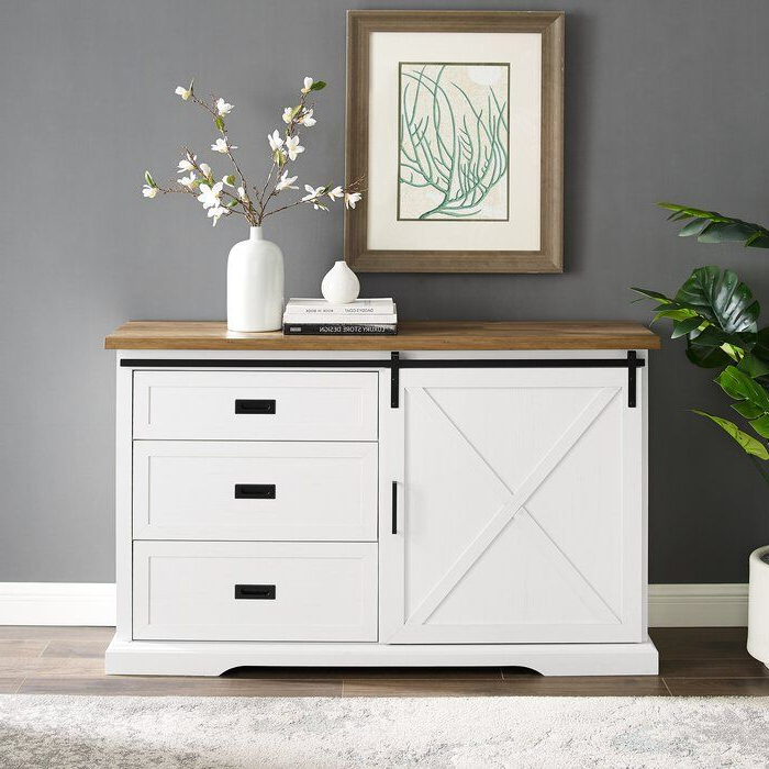 """Fashionable Hermínio 56"""" Wide 3 Drawer Sideboard In  (View 7 of 20)"""