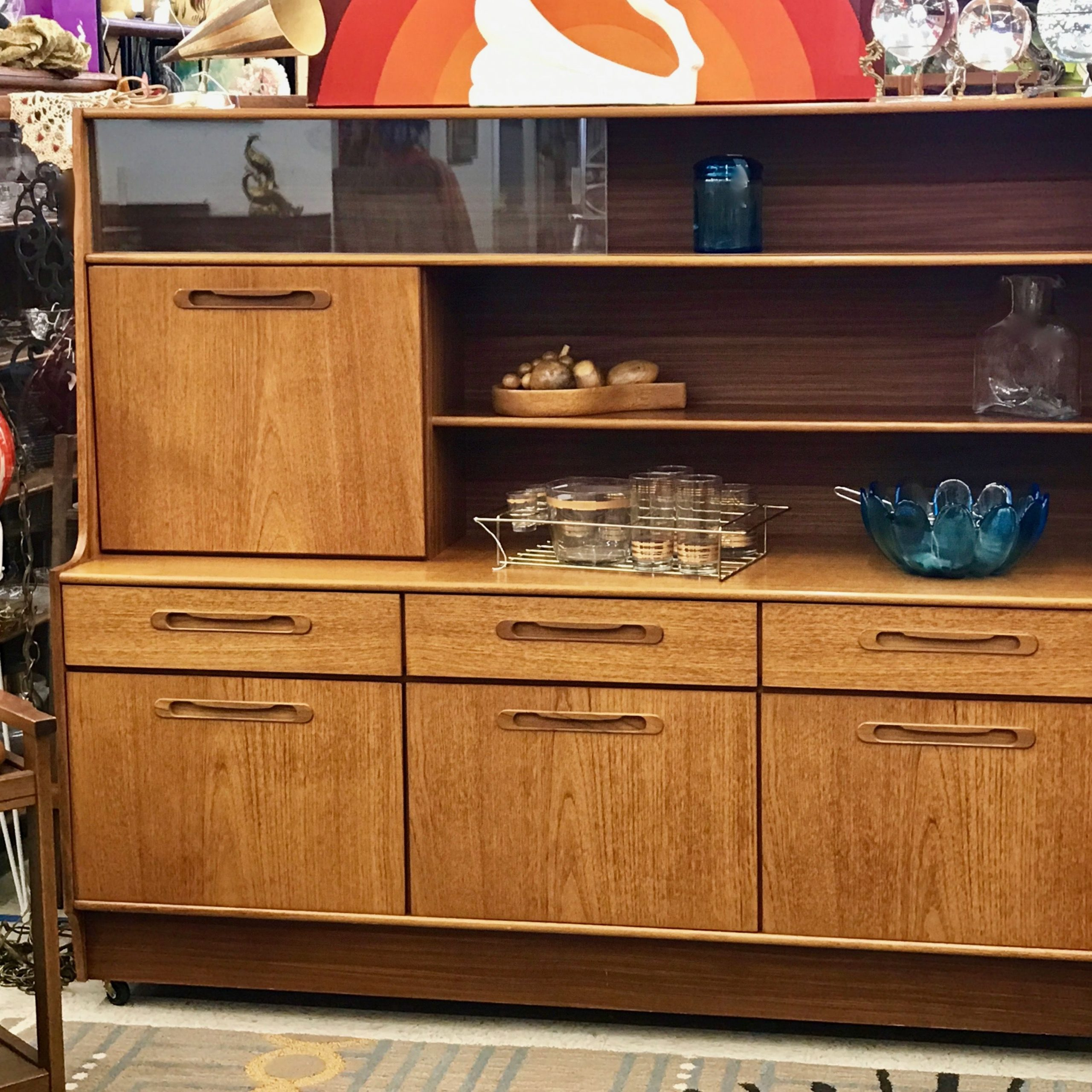 Fashionable Mid Century Sideboard With Drop Front Bar  (View 9 of 20)
