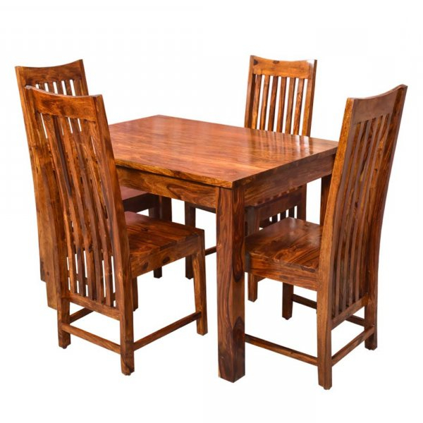 Fashionable Patron Solid Wood Four Seater Dining Set With Regard To Tarakan (View 17 of 20)