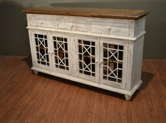 """Fashionable Rustic Solid Wood Distressed White Tv Console / China Cabinet Inside Thame 70"""" Wide 4 Drawers Pine Wood Sideboards (View 3 of 20)"""
