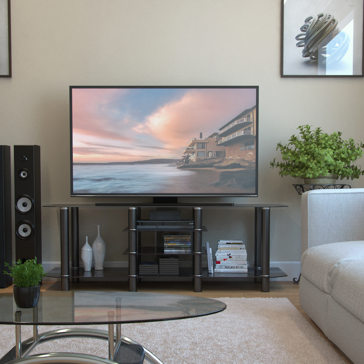 """Fashionable Salerno 60 Inch Glass Tv Stand In Black Pertaining To Alannah Tv Stands For Tvs Up To 60"""" (View 18 of 20)"""