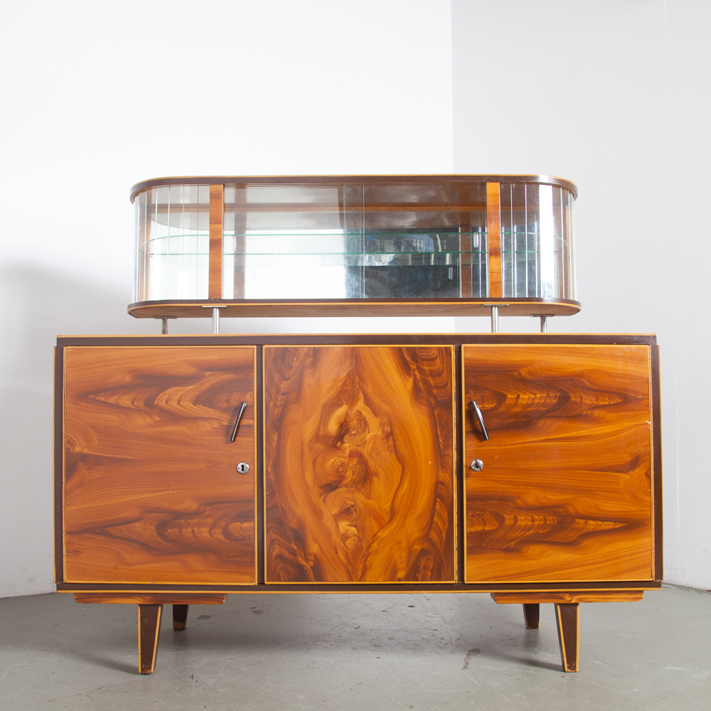 Faux Wood Finish Display Cabinet Low ⋆ Neef Louis Design Pertaining To Well Liked Wood Accent Sideboards Buffet Serving Storage Cabinet With 4 Framed Glass Doors (View 2 of 20)