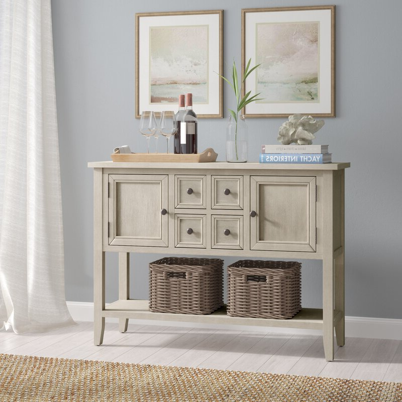 """Favorite Highland Dunes Voight 46"""" Wide 4 Drawer Acacia Wood Server Throughout Voight 46"""" Wide 4 Drawer Acacia Wood Drawer Servers (View 4 of 20)"""