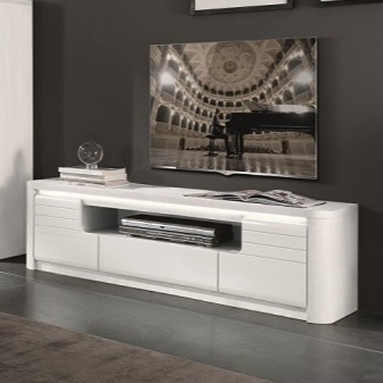 Favorite Kemble Large Wooden Tv Stand In White High Gloss With Led Throughout Kemble Tv Stands For Tvs Up To (View 6 of 20)