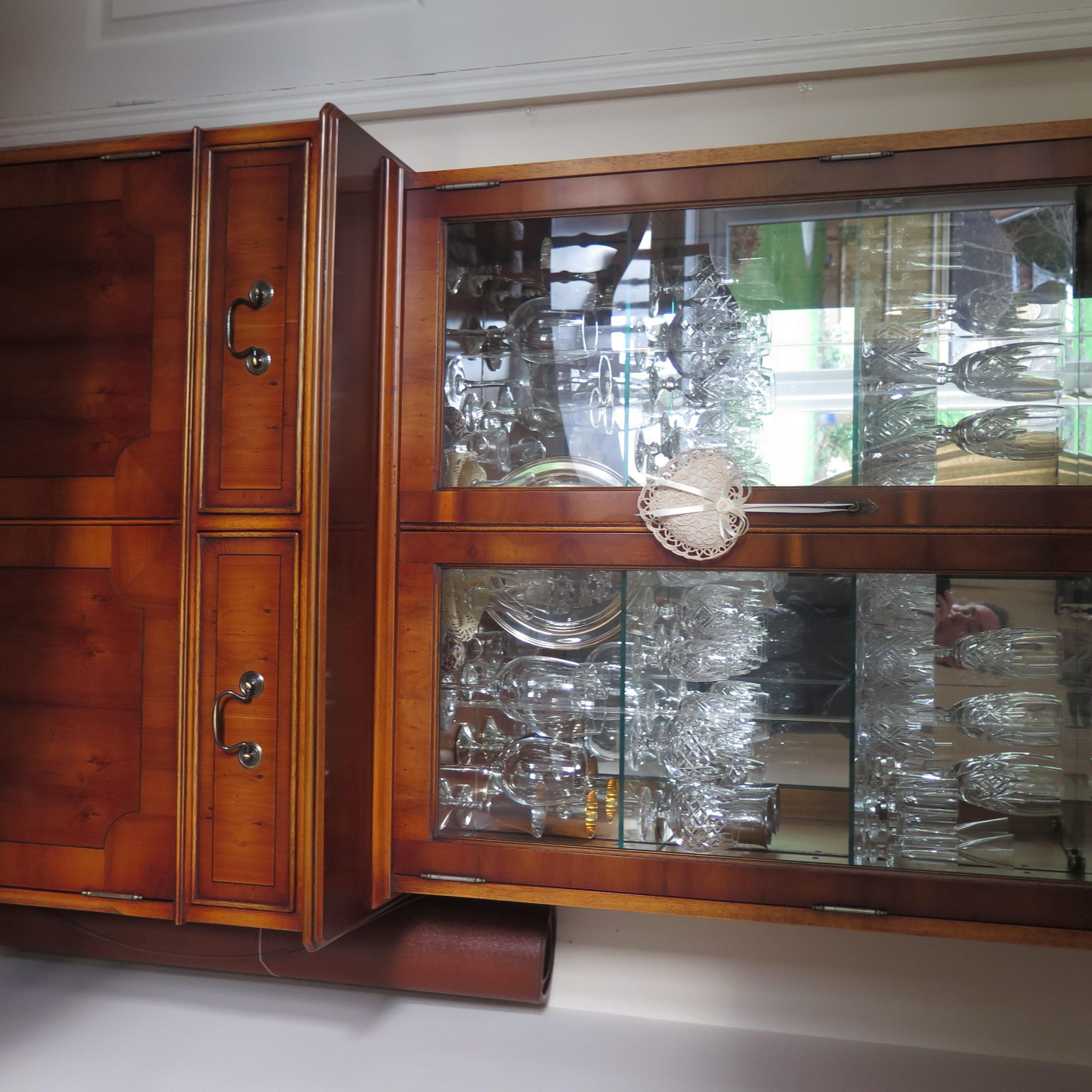 """Favorite Kinston 74"""" Wide 4 Drawer Pine Wood Sideboards Throughout Large Reproduction Georgian Style Yew Wood (View 9 of 20)"""
