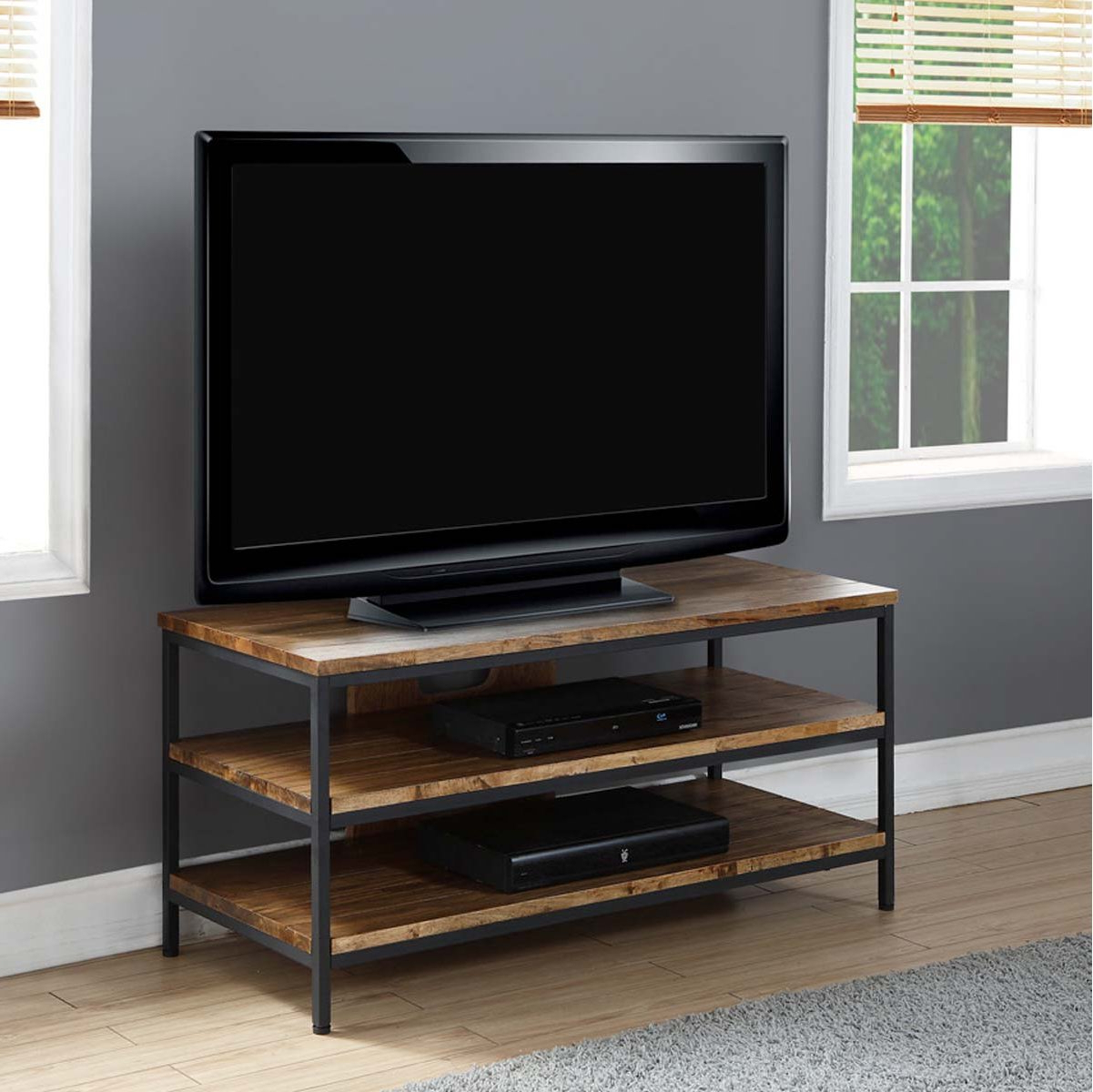 Favorite Solid Wood Oak Rustic Tv Stand Regarding Blaire Solid Wood Tv Stands For Tvs Up To (View 19 of 20)