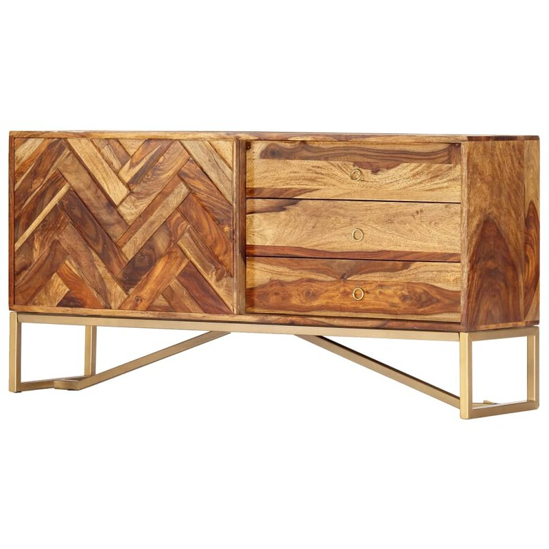 Foundry Select Lucienne 46.5'' Wide 3 Drawer Sheesham Wood In Newest Lucienne  (View 2 of 3)