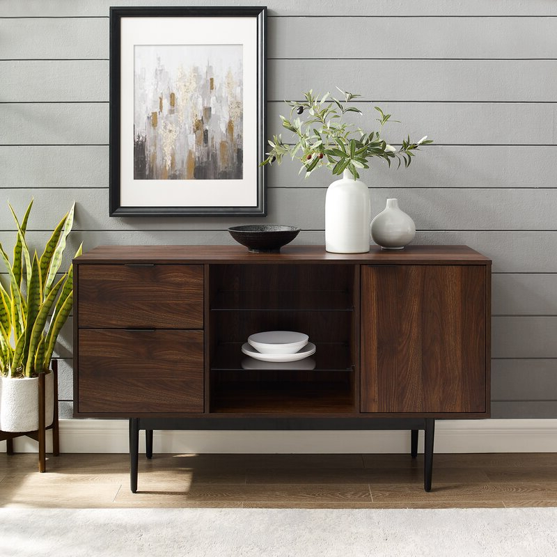 """Foundry Select Slattery 52'' Wide 2 Drawer Buffet Table With Regard To Latest Brentley 54"""" Wide 1 Drawer Sideboards (View 5 of 20)"""