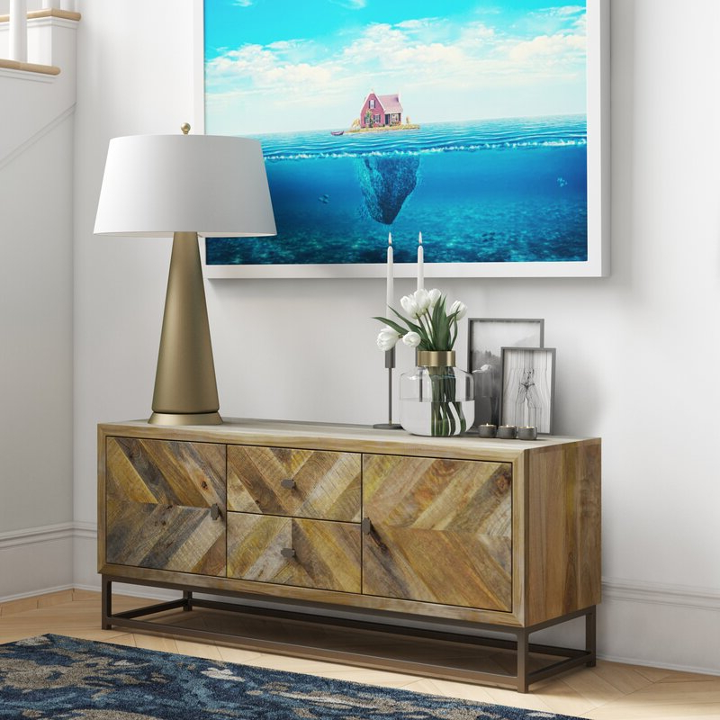 """Foundstone Denver 52"""" Wide 2 Drawer Mango Wood Media In Most Popular Slattery 52"""" Wide 2 Drawer Buffet Tables (View 11 of 20)"""