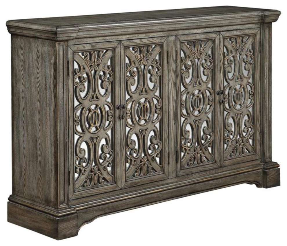 """Four Door Media Credenza – Traditional – Buffets And Regarding Trendy Shirley Mills 52"""" Wide Buffet Tables (View 9 of 20)"""