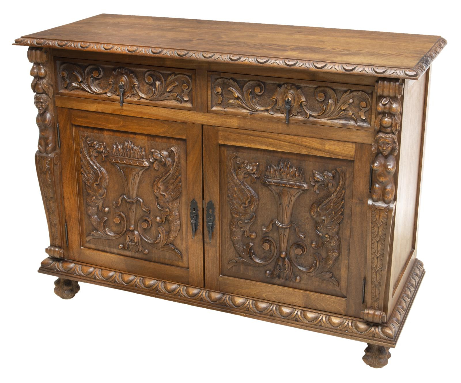 French Renaissance Revival Carved Sideboard Server With Regard To Most Current Pixley  (View 7 of 20)