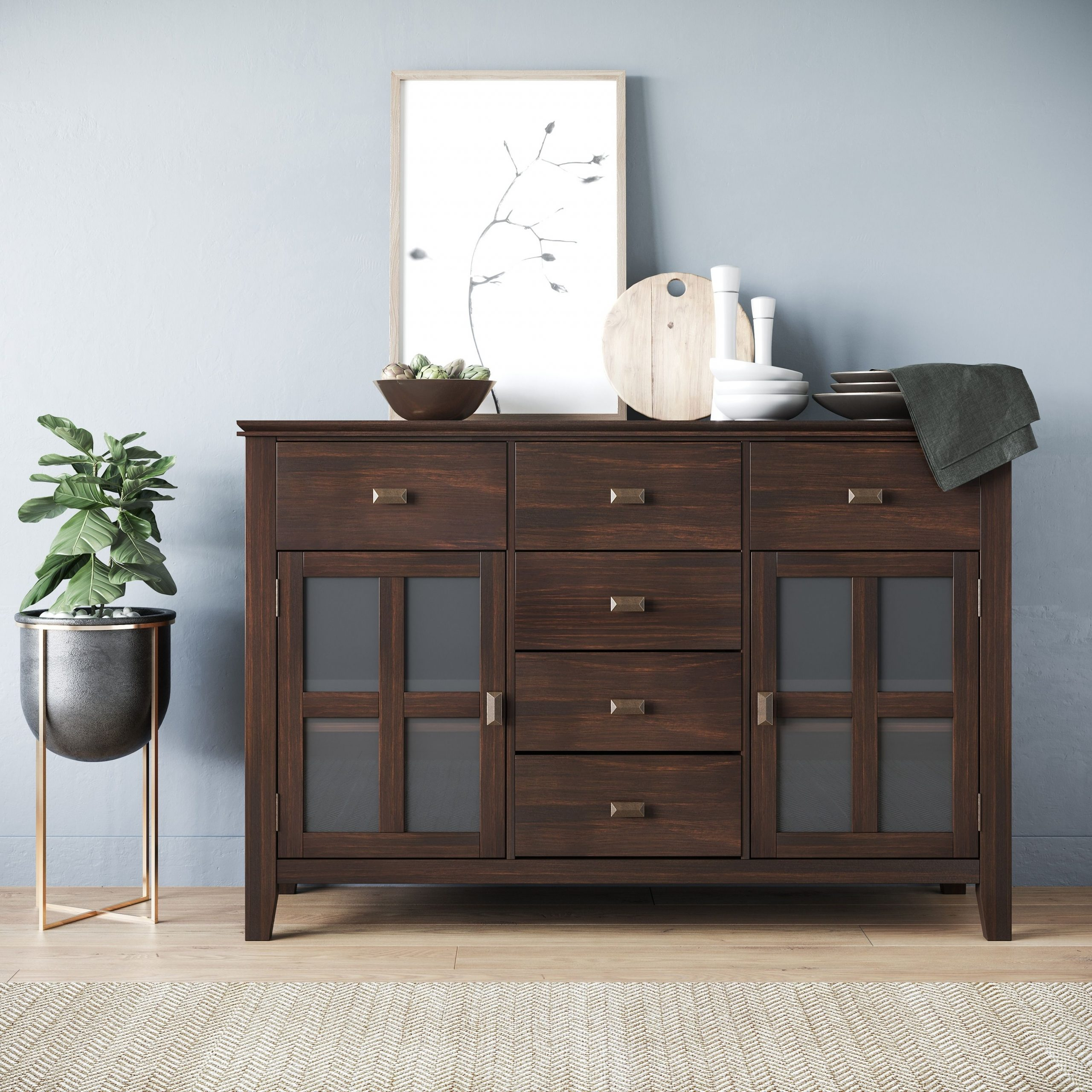 """Fritch 58"""" Wide Sideboards Regarding Most Popular Stratford Solid Wood 54 Inch Wide Contemporary Sideboard (View 18 of 20)"""