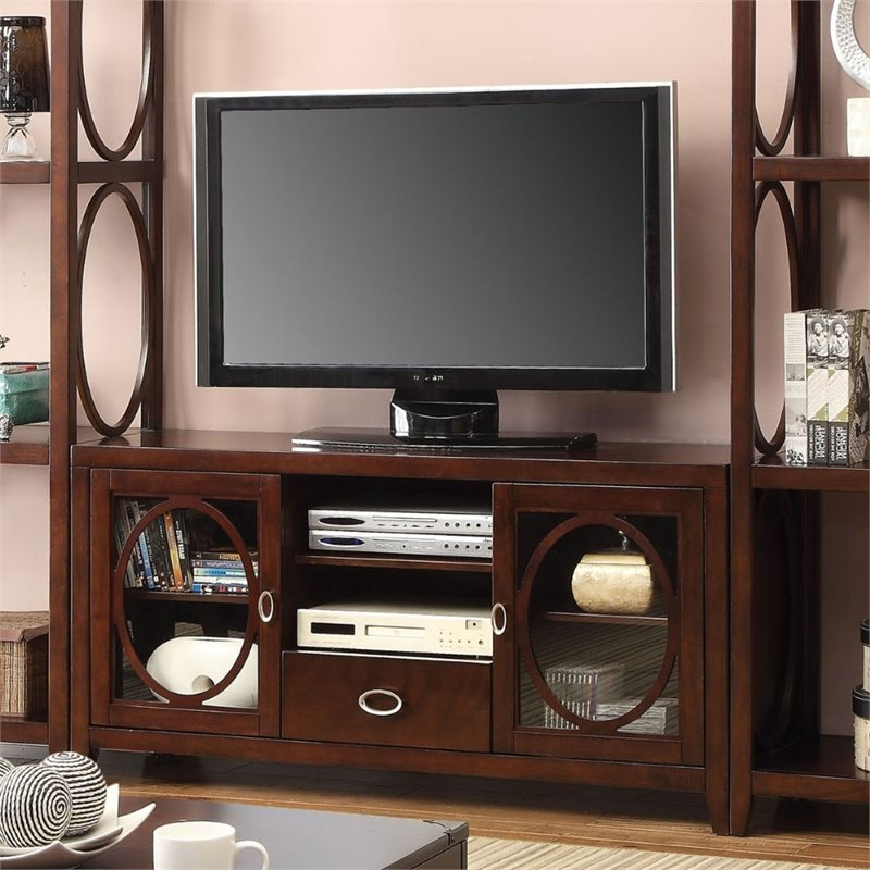 Furniture Of America Glossen 56 Inch Circular Wood Accent In Newest Kemble Tv Stands For Tvs Up To (View 19 of 20)