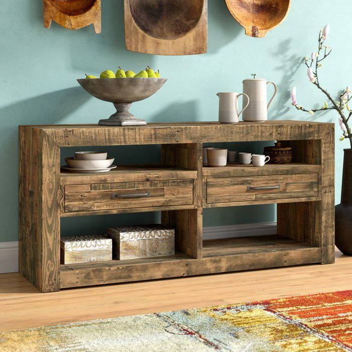 """Gino 62"""" Wide 2 Drawer Pine Wood Buffet Table In 2020 Regarding Most Up To Date Elllise 62"""" Wide Sideboards (View 20 of 20)"""