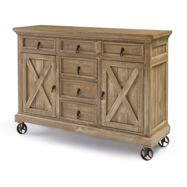 """Gracie Oaks Schroder 63"""" Wide 6 Drawer Pine Wood Sideboard For Favorite Benghauser 63"""" Wide Sideboards (View 2 of 20)"""
