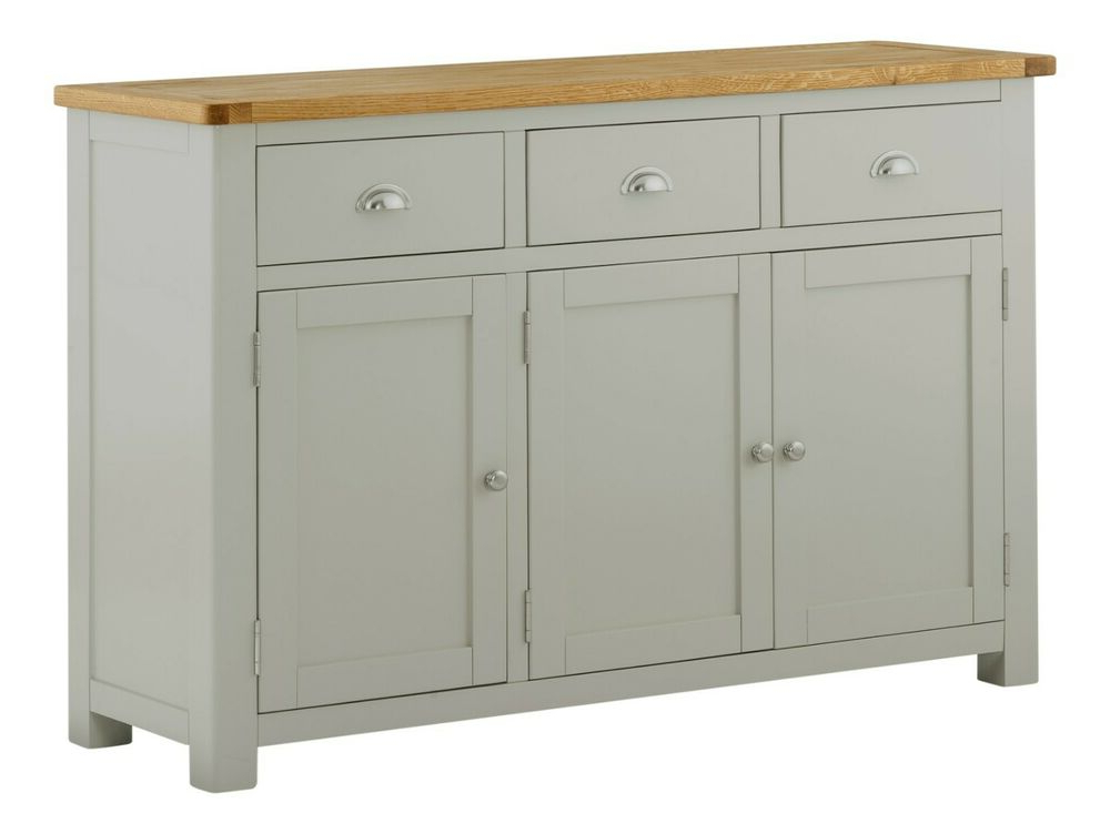 """Grieg 42"""" Wide Sideboards Throughout Current Padstow Painted Grey Sideboard / Solid Wood Painted Oak (View 3 of 20)"""