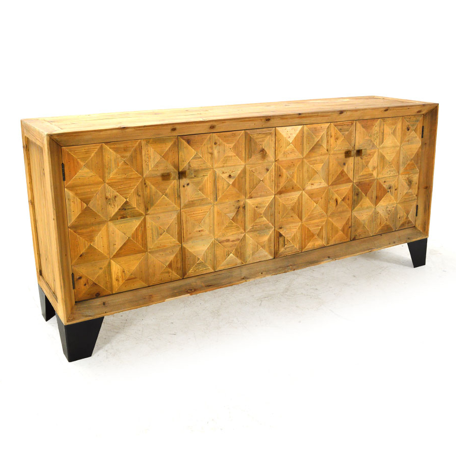 """Herringbone Media Console Sideboard, Vintage Natural With Well Known Herringbone 48"""" Wide Buffet Tables (View 13 of 20)"""