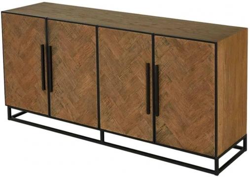 """Herringbone Old Oak 4 Door Sideboard – Cfs Furniture Uk Pertaining To Popular Herringbone 48"""" Wide Buffet Tables (View 3 of 20)"""