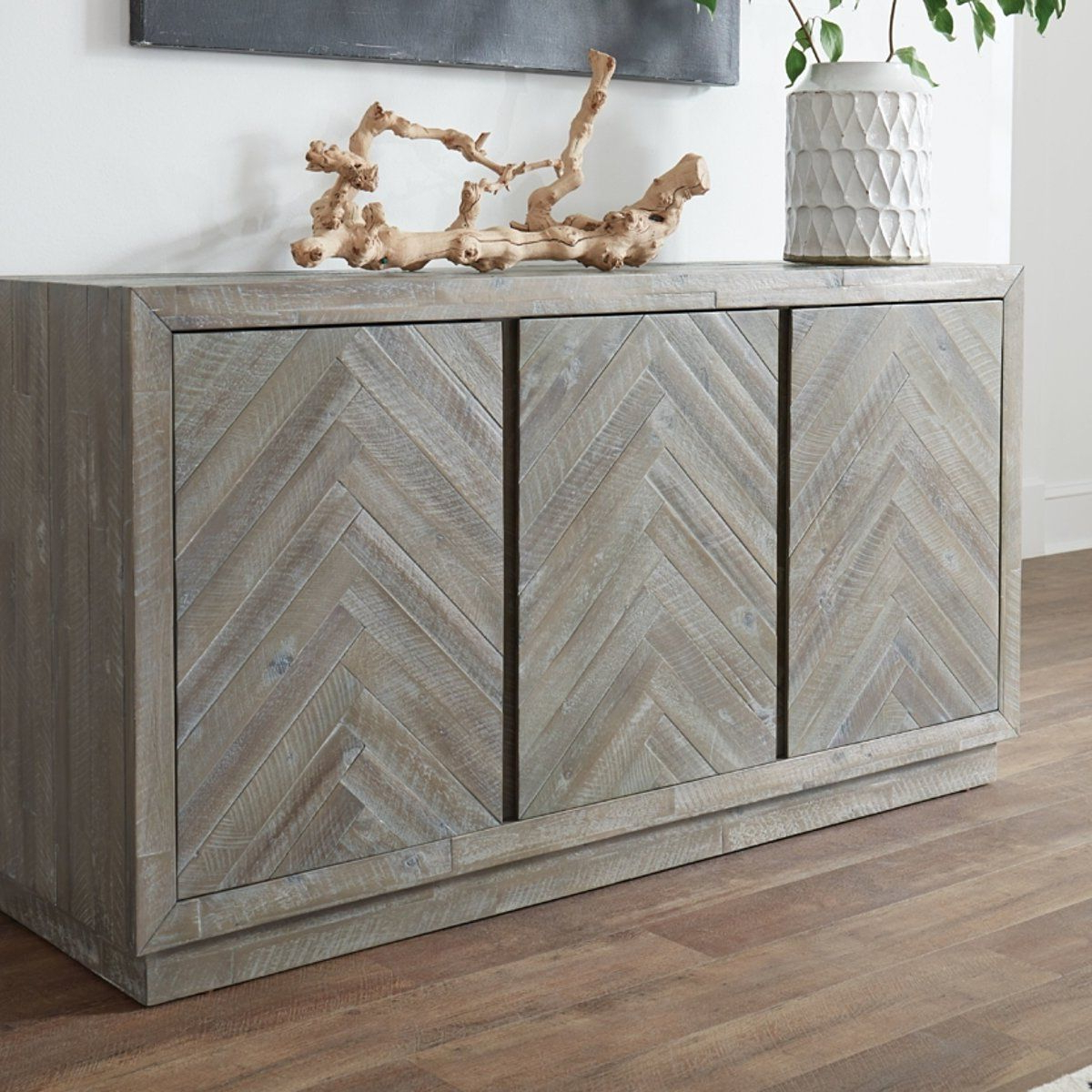 """Herringbone Pattern Wooden Sideboard With Three Door Intended For Most Up To Date Herringbone 48"""" Wide Buffet Tables (View 5 of 20)"""