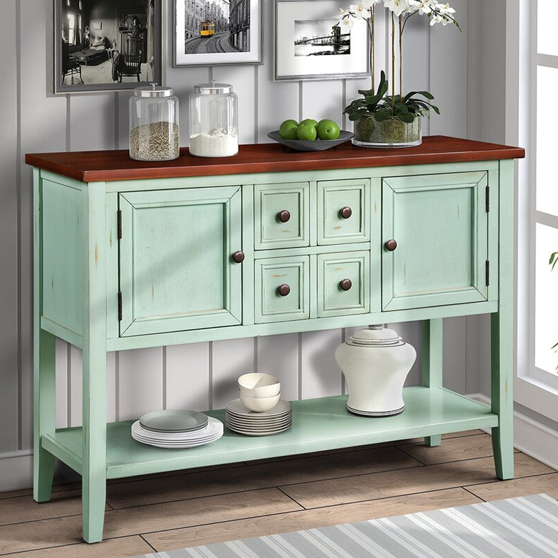 """Highland Dunes Voight 46"""" Wide 4 Drawer Acacia Wood Server Regarding Widely Used Voight 46"""" Wide 4 Drawer Acacia Wood Drawer Servers (View 9 of 20)"""