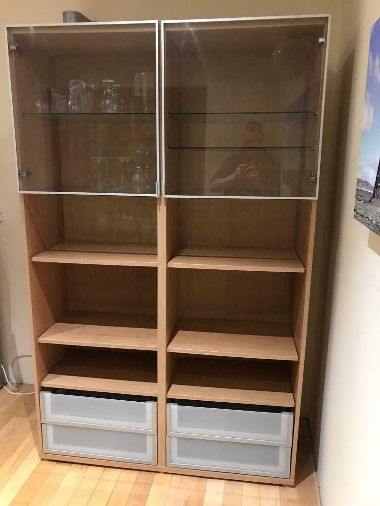 """Ikea Oak Effect Dining Room Unit Glass Display Cabinet Throughout Favorite Westhoff 70"""" Wide 6 Drawer Pine Wood Sideboards (View 7 of 20)"""