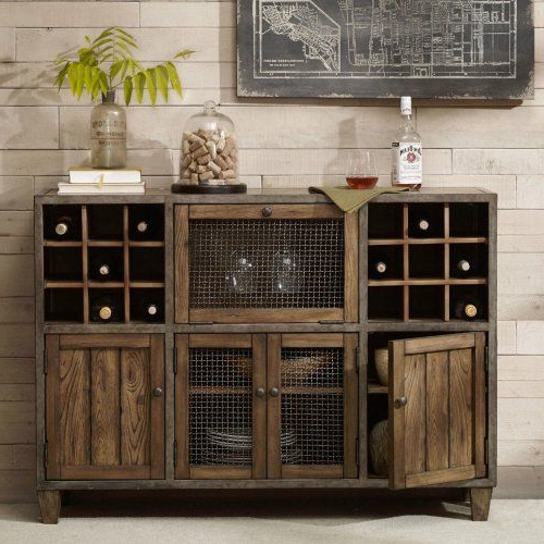 Industrial Reclaimed Wood Vintage Wine Rack Sideboard Intended For Best And Newest Salina (View 19 of 20)