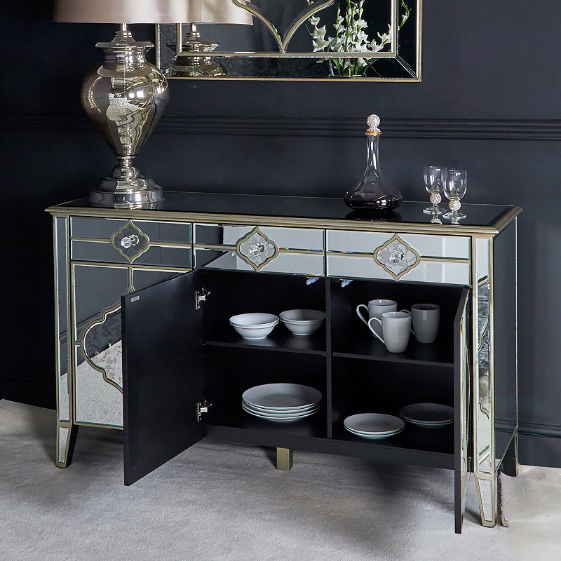 """Ismay 56"""" Wide 3 Drawer Sideboards Inside Best And Newest Sahara Marrakech Moroccan Gold Mirrored 3 Drawer 3 Door (View 15 of 20)"""