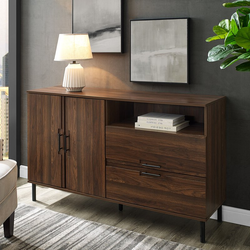 """Ismay 56"""" Wide 3 Drawer Sideboards Within Widely Used Ebern Designs Bruin 56"""" Wide 2 Drawer Sideboard & Reviews (View 11 of 20)"""