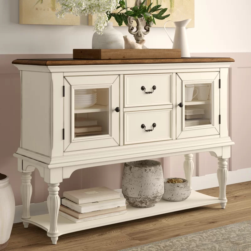 """Isra 56"""" Wide 3 Drawer Sideboards With Regard To Most Current Cambrai 56"""" Wide 2 Drawer Buffet Table In 2020 (with (View 13 of 20)"""