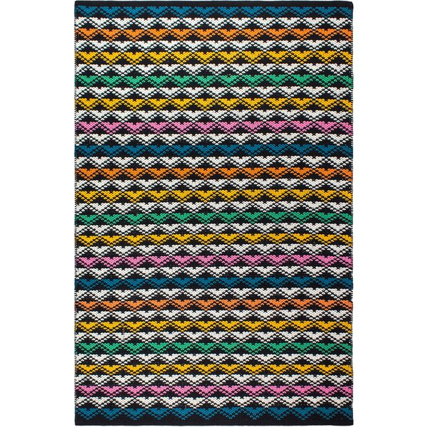 Ivy Bronx Keeney Striped Handmade Flatweave Black / Blue With Regard To Popular Keeney Sideboards (View 9 of 20)