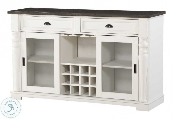 """Joanna Ivory And Dark Oak Server From Steve Silver Within Most Recent Barkell 42"""" Wide 2 Drawer Acacia Wood Drawer Servers (View 8 of 20)"""