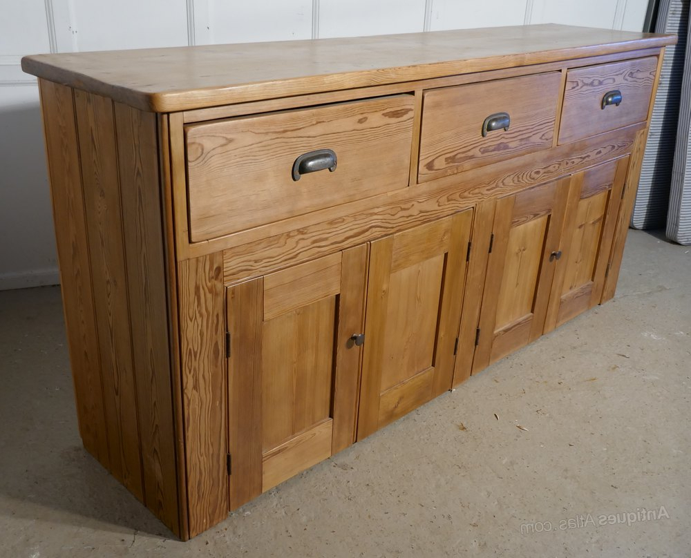 """Kinston 74"""" Wide 4 Drawer Pine Wood Sideboards Regarding Well Liked Victorian Pine Farmhouse Kitchen Dresser Base, – Antiques (View 3 of 20)"""