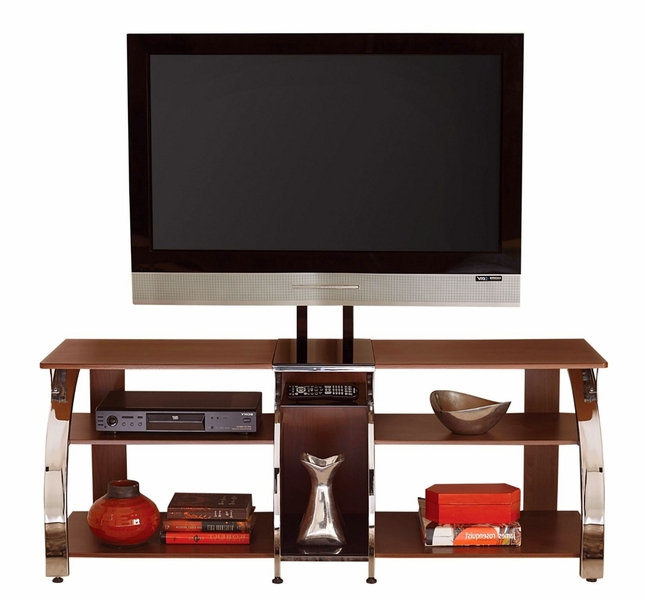 """Labarbera Tv Stands For Tvs Up To 58"""" For Fashionable Layla 58"""" Polished Chrome And Cherry Tv Stand With Tv (View 18 of 20)"""