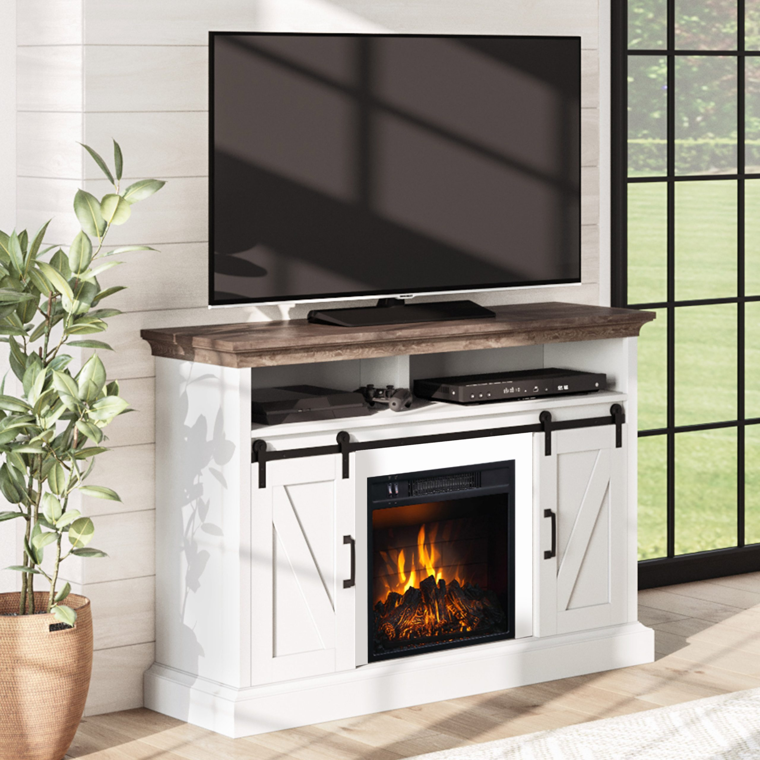 """Labarbera Tv Stands For Tvs Up To 58"""" With Regard To Best And Newest Whalen Allston Barn Door Fireplace Tv Stand For Tvs Up To (View 12 of 20)"""