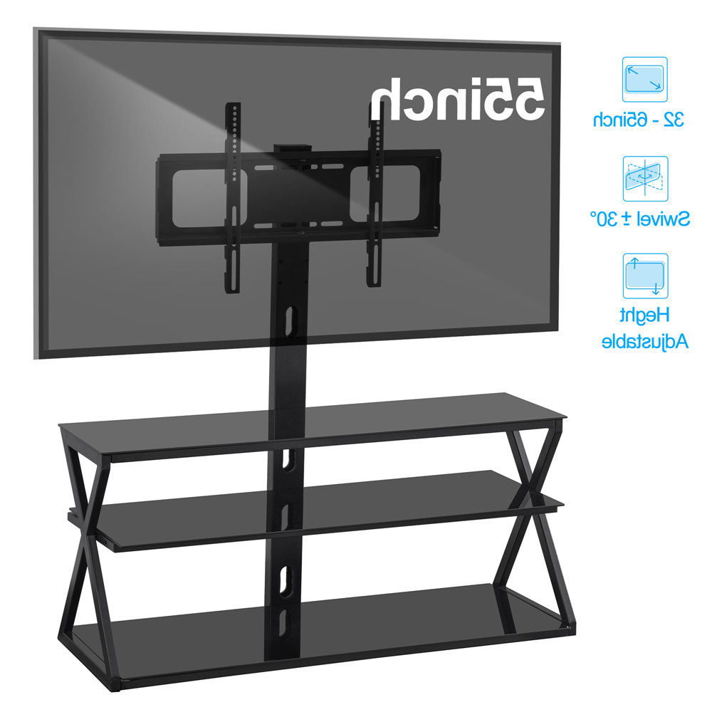 """Latest Shilo Tv Stands For Tvs Up To 65"""" Within Ubesgoo 32 65"""" Floor Tv Stand With Swivel Bracket 3 Tier (View 10 of 20)"""