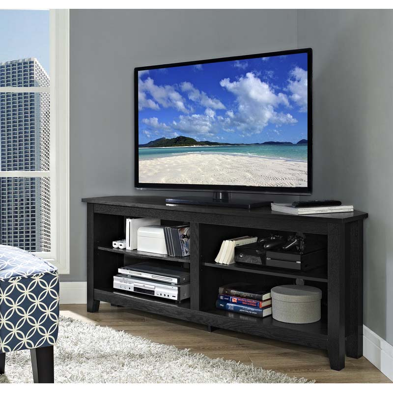 """Leafwood Tv Stands For Tvs Up To 60"""" In Newest Walker Edison Essentials 60 Inch Corner Tv Stand Matte (View 13 of 20)"""