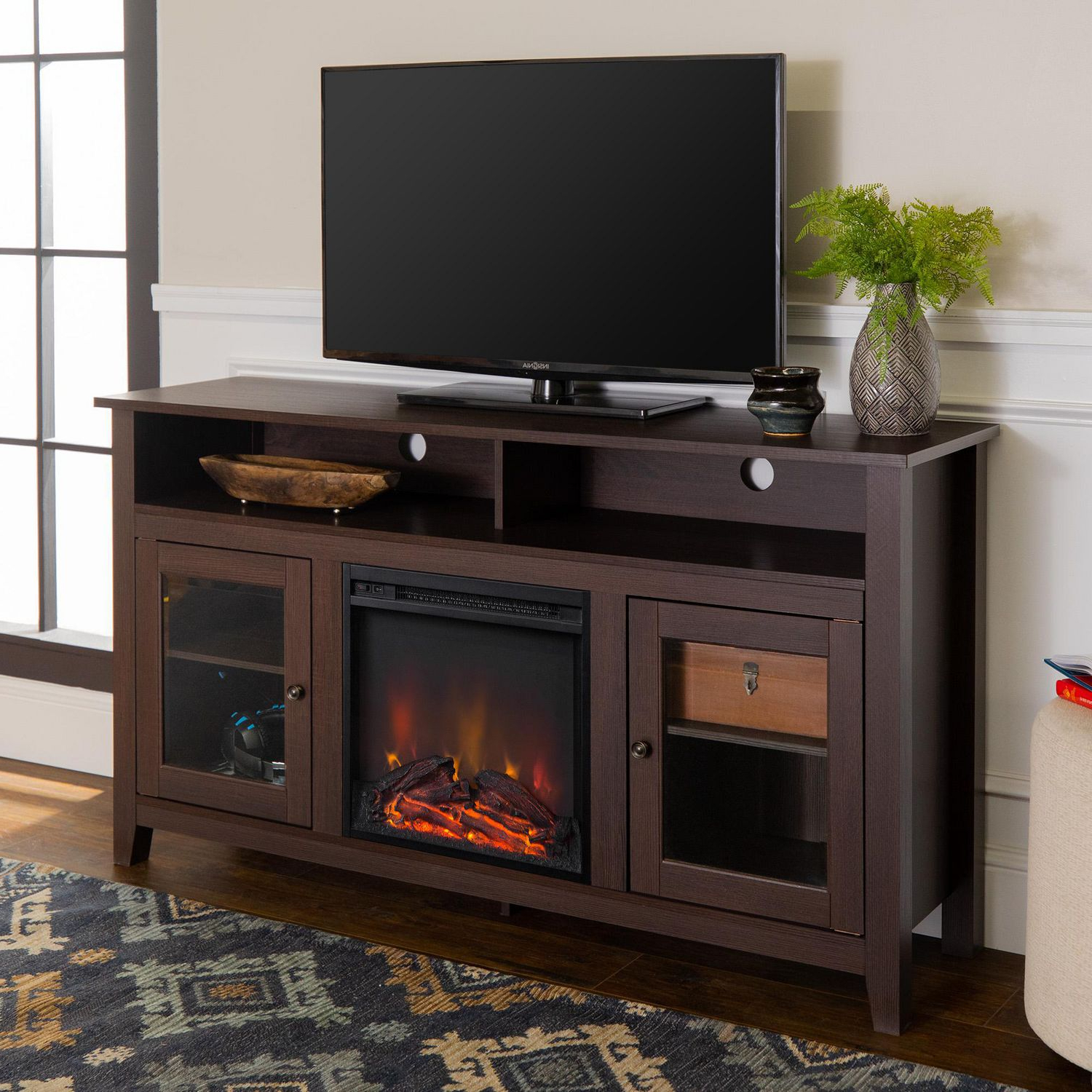 """Leafwood Tv Stands For Tvs Up To 60"""" With Regard To Popular Manor Park Modern Highboy Fireplace Tv Stand For Tvs Up To (View 4 of 20)"""