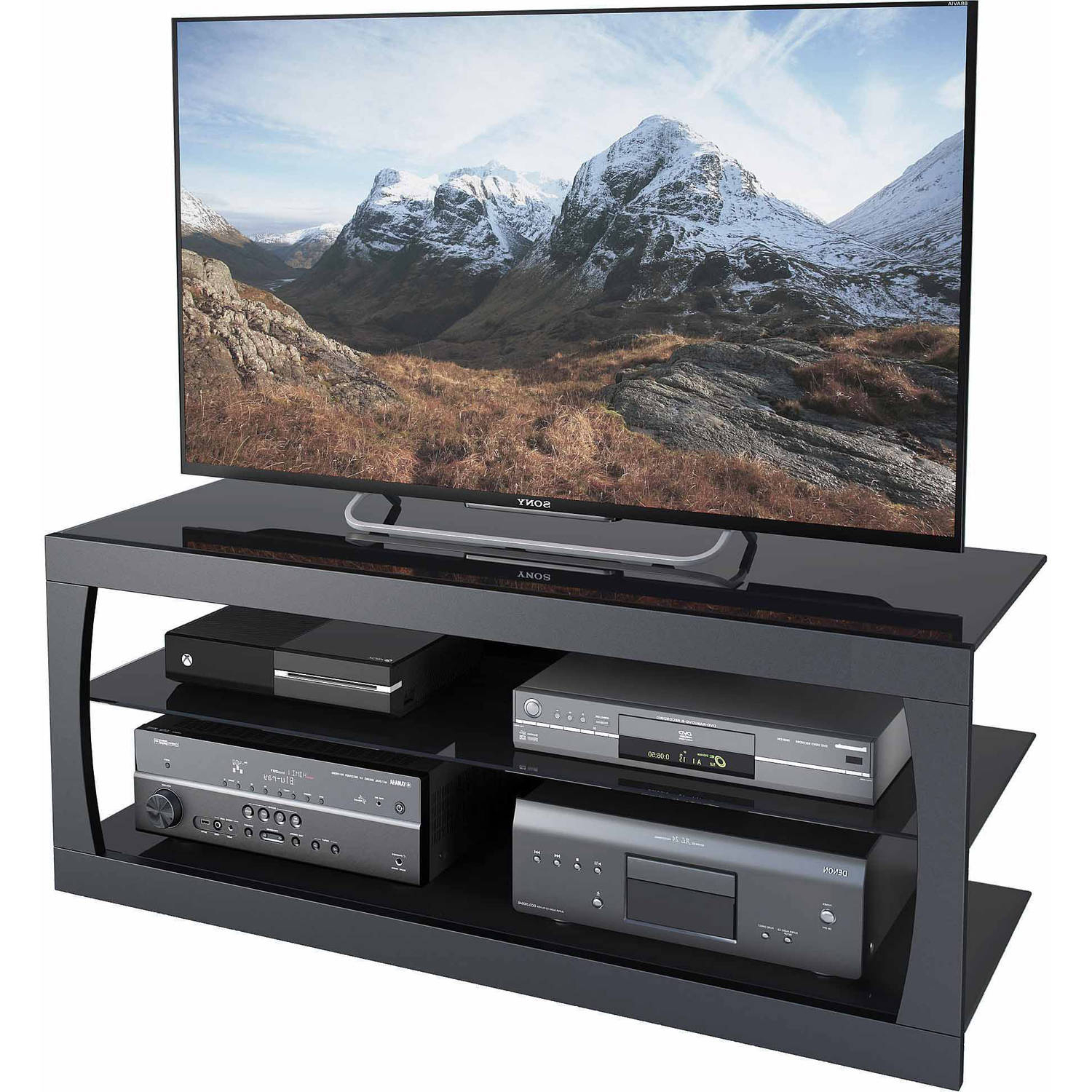 """Leafwood Tv Stands For Tvs Up To 60"""" Within Best And Newest Corliving Santa Lana Glass Tv Stand For Tvs Up To (View 8 of 20)"""