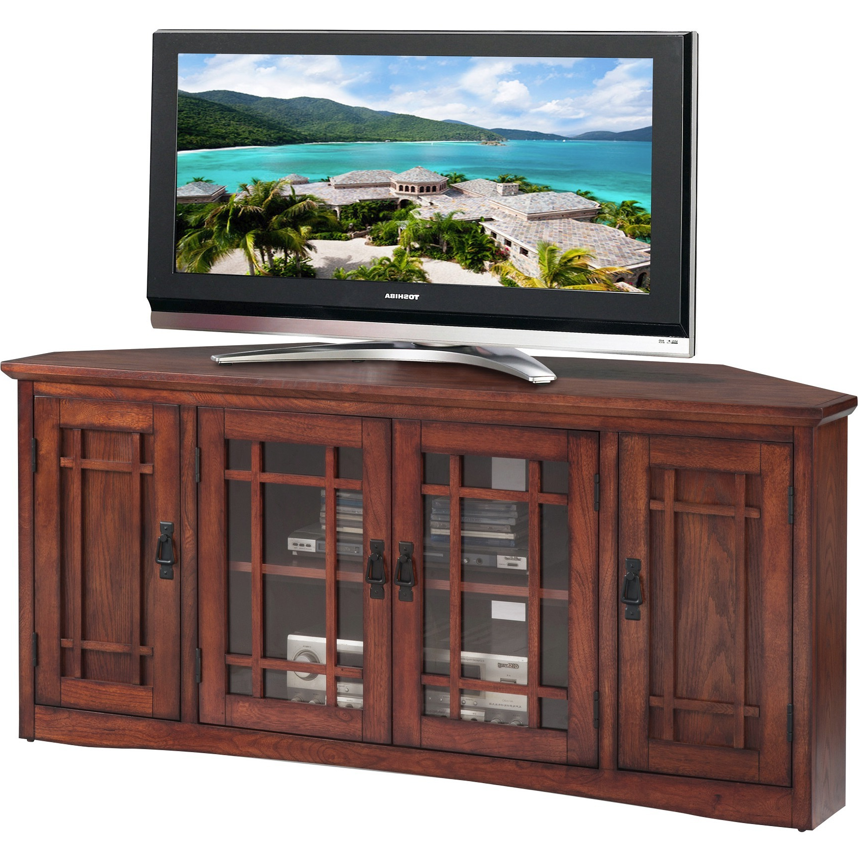 """Leick Home 56"""" Corner Tv Stand For Tv's Up To 60"""", Mission Intended For Fashionable Khia Tv Stands For Tvs Up To 60"""" (View 5 of 20)"""