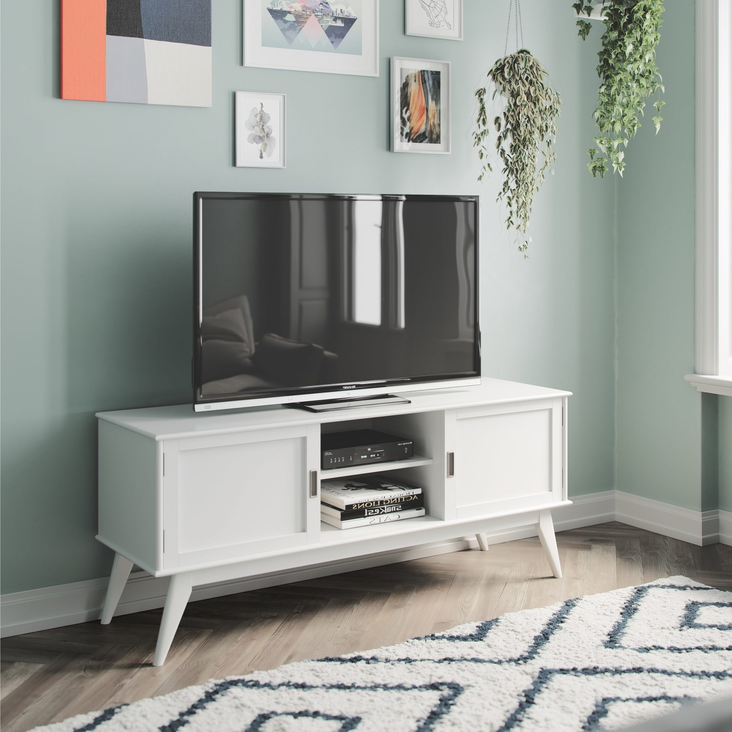 """Lorraine Tv Stands For Tvs Up To 60"""" Throughout Trendy Wyndenhall Tierney Solid Hardwood 60 Inch Wide Mid Century (View 4 of 20)"""